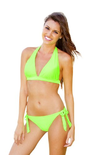 Lime Bikini Swimsuit (Ingear Push up Halter/side Tie (Small, Neon Lime))
