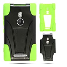 Cell Armor Jelly Case for Nokia Lumia 925 – Retail Packaging – Green Skin and Black Snap with Stand