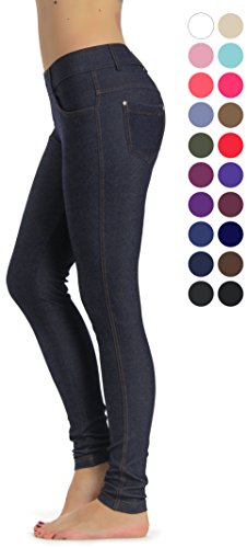 Stretch Denim Leggings (Prolific Health Women's Jean Look Jeggings Tights Yoga Many Colors Spandex Leggings Pants S-XXL (Large, Navy Blue))