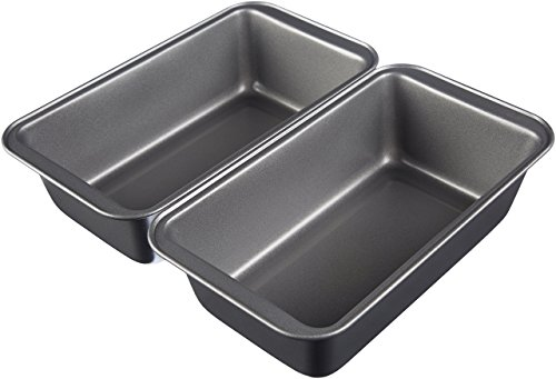 AmazonBasics Nonstick Carbon Steel Baking Bread Pan, 9.5 x 5 Inch, Set of 2