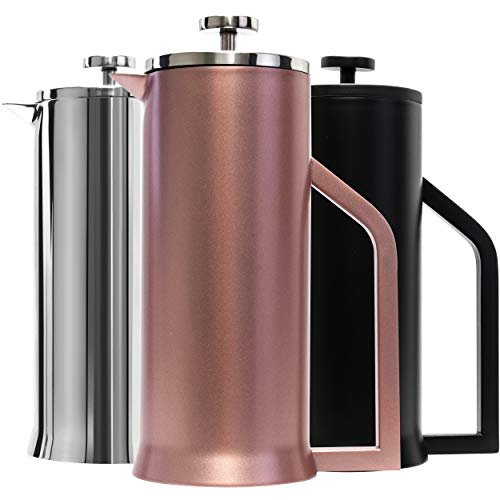 (Lafeeca Stainless Steel French Press Coffee Maker - Double Wall Vacuum Insulated - 30 oz Rose Gold )