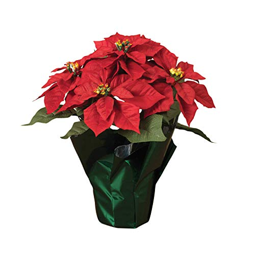 14″ Potted Red Poinsettia Plant with 5 Flowers, Artificial Potted Poinsettia