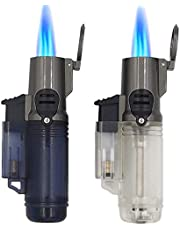 LONDAFISH Outdoor Jet fakkelaansteker, winddicht, turbo-triple vlam, gas butaan, zichtbaar venster, navulbare fakkelaansteker, verpakking van 2 stuks (zonder brandstof)