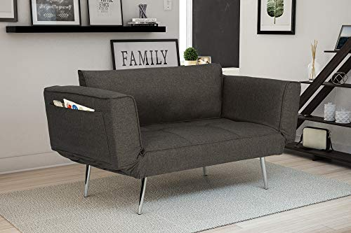 Two Seat Lounge Bench - Novogratz Leyla Loveseat, Multifunctional and Modern Design, Adjustable Armrests to Create a Couch Sleeper -Grey