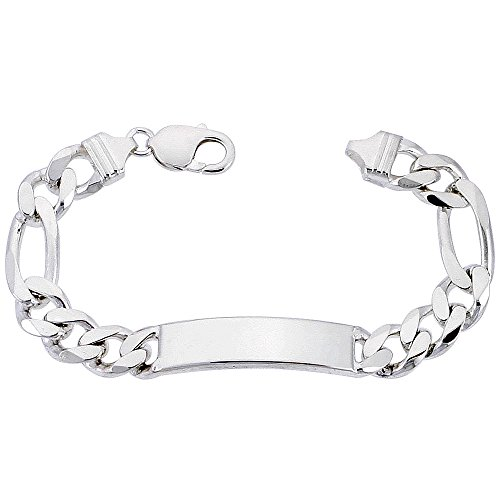 Sterling Silver ID Bracelet Figaro Link 3/8 inch wide Nickel Free Italy, 8 inch by Sabrina Silver