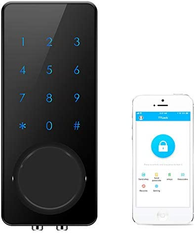 AKASO Smart Lock, Smart Electronic Door Lock APP Code Touch Screen Keypad Deadbolt Entrance Smart Electronic Digital Door Lock with Key Remote Keypad for Home Hotels Apartment Black