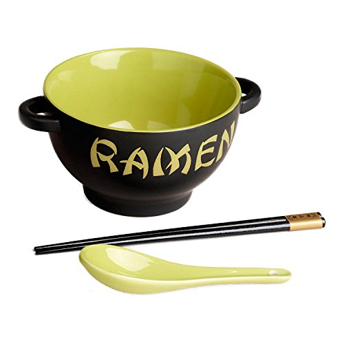 Ramen Noodle Bowl Set with Spoon and Chopsticks - Green
