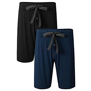 DAVID ARCHY Men's 2 Pack Soft Comfy Bamboo Rayon Sleep Shorts Lounge Wear Pajama Pants
