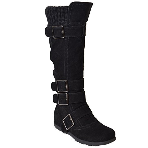 Wide Knee High Calf Boots - Generation Y Women's Knee High Mid Calf Boots Ruched Suede Knitted Calf Buckles Rubber Sole GY-WB-233 Black SZ 7.5