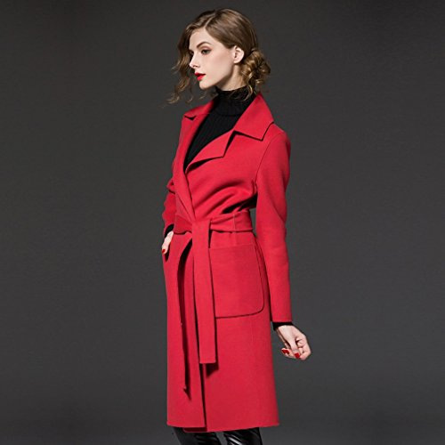 the Coat Coat Long Her Red Winter 'S Women Models of Large of in Woolen Size MIF Coat Clothing PawqACxw
