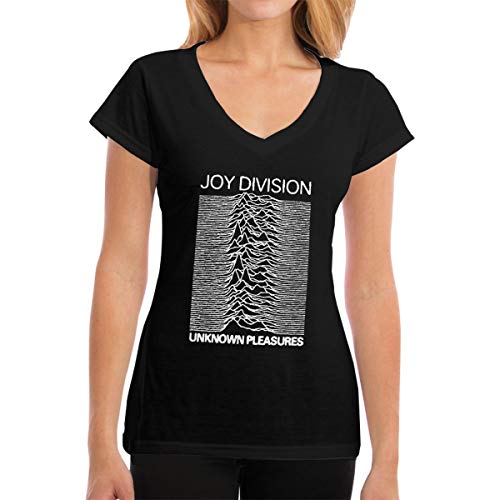 Fional Womens V-Neck T-Shirt Joy-Division-Unknown-Pleasures Summer Printed Short Sleeves Cotton Casual Tops Black