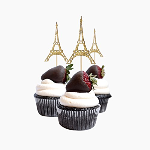 Colors Eiffel Tower - Cup Cake Topper Eiffel Tower, Paris Birthday Ideas, Glitter Card Stock Color Gold 12pc