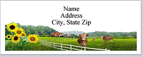 150 Personalized Address Labels Country Farm Scene Cows Sunflowers (P 310)