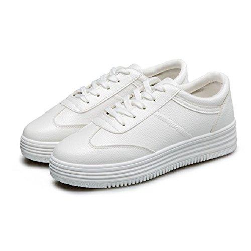 Cybling Mode Lage Top Witte Platform Sneakers Voor Dames Outdoor Casual Veterschoenen Zwart