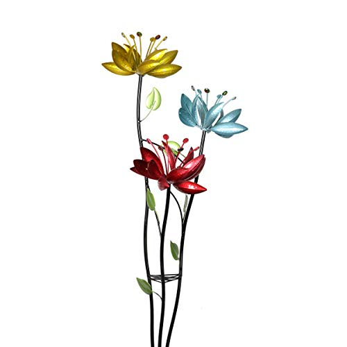 Exhart Triple Lotus Flower Wind Spinners Garden Stake - 3 Metallic Flower Spinners in Colorful Yellow, Blue, and Red Metal Design Spin - Yard Art Décor, 17 by 53 Inches
