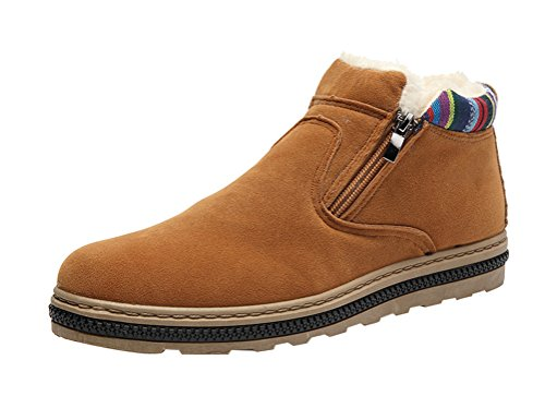[T&Mates Mens Winter Faux Fur Lined Comfort Zip Ankle Boots Snow Warm Suede Shoes (7 B(M)US,Yellow)] (Suede Renaissance Boot Costumes)