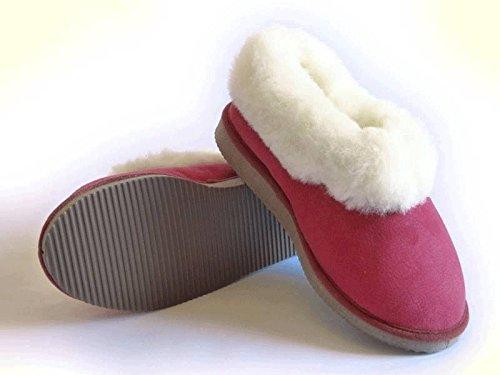 chaussons garçons rouges fourrés peau de mouton - tannage naturel - 36
