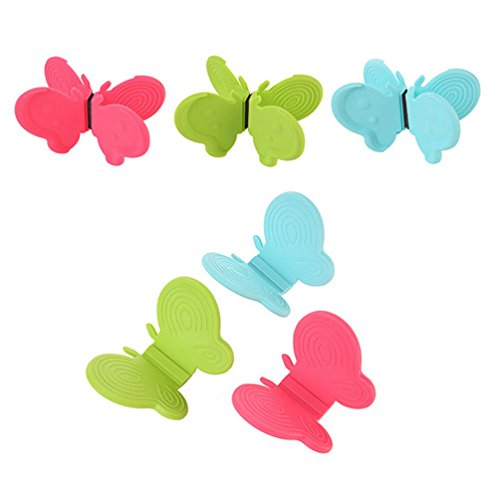 TheFound Adorable Butterfly Shaped Silicone Anti-scald Devices Kitchen Tool Gadget (6, Random Color)