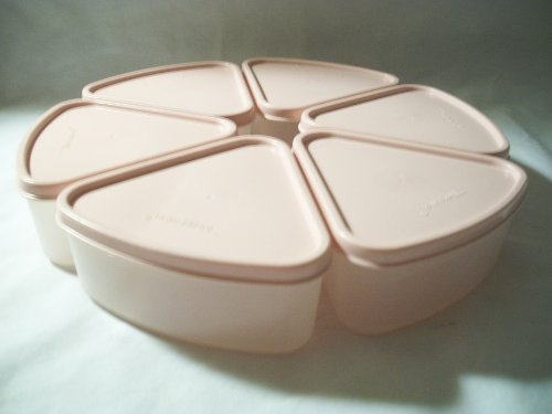 Tupperware Set 6 Pink Modular Mates Slice of Pie Keeper Storage Container Wedge
