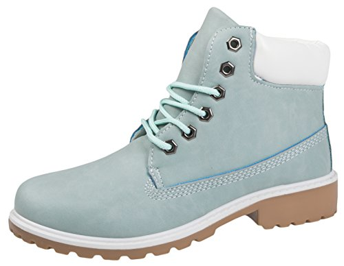 Lora Dora Kids Faux Leather Worker Ankle Boots Pale Blue