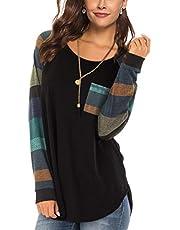 Famulily Women's Casual Raglan Tie Sleeve Plaid Print T Shirt Tops