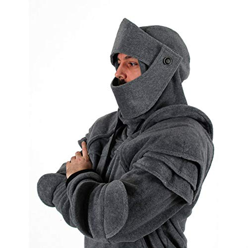 Gallity Men's Retro Demountable Mask Cosplay Costumes Sweatshirt Duncan Armored Knight Hoodie Jacket (2XL, Gray)