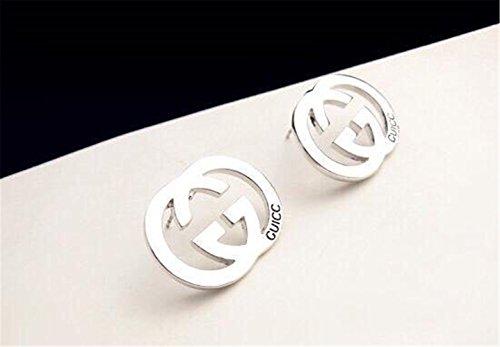 P.phoebus 18K White Gold Plated Earrings Vintage Swarovski Crystal Studs Rhinestones Dangle Charms Hoops for Women Girls