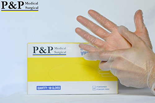 Vinyl Gloves Disposable Medical Exam Powder Latex Free (1 Case= 1000 gloves) X-Large by P&P Medical Surgical