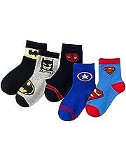 CVAYU 5 Pairs Superhero Children Socks.The Avengers Children Socks,Cotton Socks,Bed Socks.Spiderman,US Captain,Superman Socks