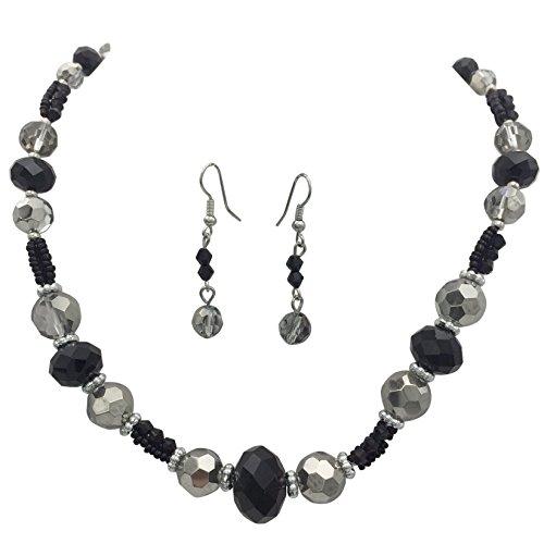 Earring Black Necklace Beaded - Single Strand Glass Beaded Necklace & Dangle Earrings Set (Black Silver Tone)