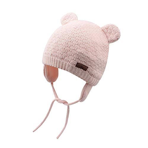 Cutegogo Baby Infant Earflap Beanie Hat Toddler Boys Girls Winter Warm Crochet Cap 0-24Months (Pink, 10-24M)