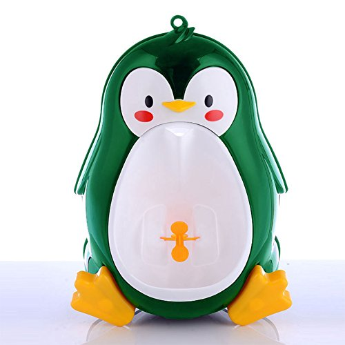 Qiyun Disconnect-type toilet Cute Penguin Potty Training Urinal for Boys with Interesting Whirling Target Kids Removable Toiletcolour:Green