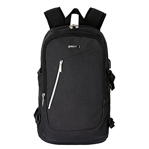 OXA Anti-Theft and Water Resistant Business /School Laptop Backpack with USB Charging Port and Lock Fits up to15.6-Inch Laptop and Notebook, Black