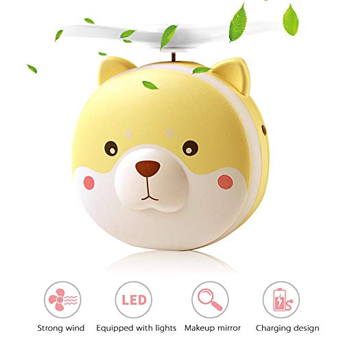 Ceepko Mini Fan with Mirror, 2 in 1 Pig Handheld Pocket Fan with LED Vanity Mirror Lights, Personal Fan Battery Operated, USB Charging Portable Fan Makeup Beauty LED Light Mirror for Home Travel