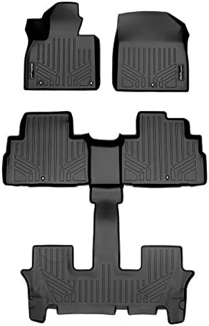 SMARTLINER All Weather Custom Fit Black 3 Row Floor Mat Liner Set Compatible With 2020-2022 Kia Telluride with 2nd Bucket Seats Without Center Console