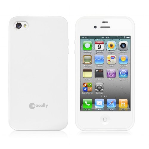 Macally FlexFit Étui de protection souple en polyuréthane pour iPhone 4S/4 Blanc