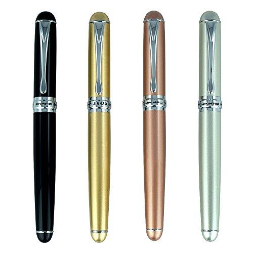 4 PCS Jinhao X750 Fountain Pen Set, 4 Colors (Bright Black, Gold, Silver, Rose Gold), Medium Nib With Ink Converter, Silver Trim, Gift Box