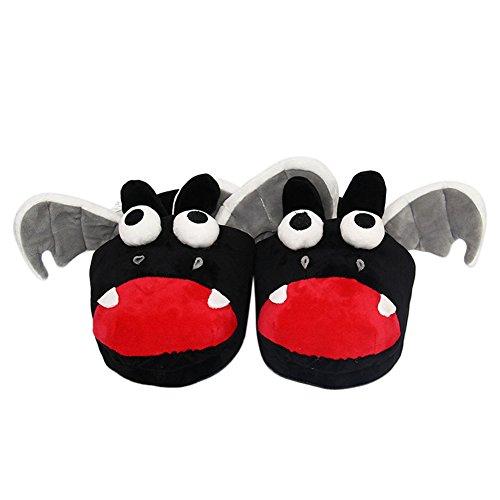Genda 2archer Femmes Hommes Enfants Hiver Maison Chaussures Dessin Animé En Peluche Pantoufle-chauve-souris