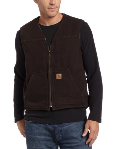 Carhartt Men's  Sherpa Lined Sandstone Rugged Vest V26,Dark