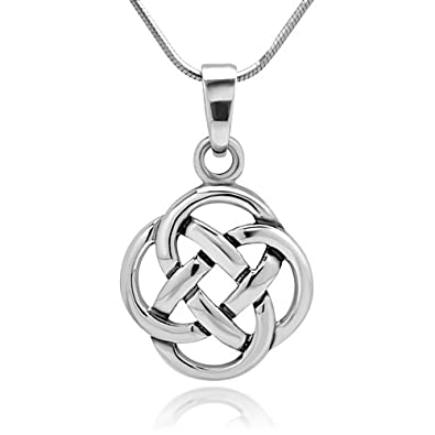 Amazon chuvora 925 sterling silver celtic knot five fold chuvora 925 sterling silver celtic knot five fold pattern round pendant necklace 18 inches aloadofball Choice Image