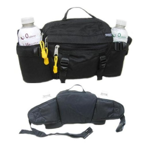 Lumbar Waist Pack - Holds Two Water Bottles BLACK