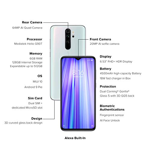 Redmi Note 8 Pro Halo White 6gb Ram 128gb Storage With Helio G90t Processor Amazon In Electronics