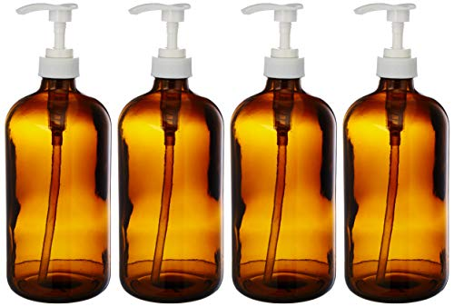 kitchentoolz 32-Ounce Large Amber Glass Boston Round Bottles w/Pumps. Great for Lotions, Soaps, Oils, Sauces - Food Safe and Medical Grade (4 Pack of Bottles)