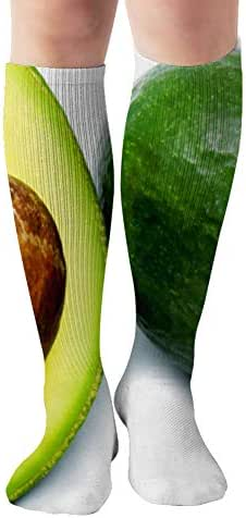 Avocado Grain Fruits Green On White Food And Drink Advertising Nature Compression Socks Women & Men, Best Athletic & Medical Running Flight Travel Pregnant 19.68 Inch