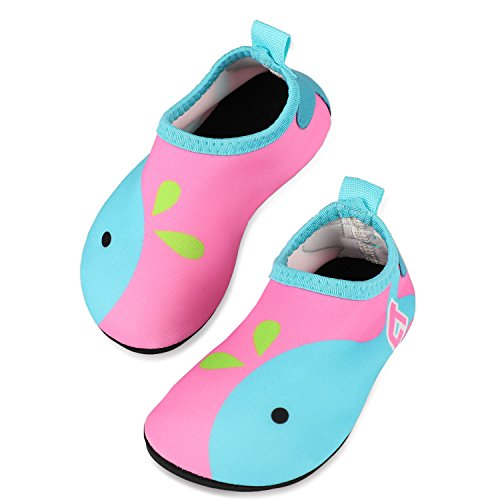 TAGVO Baby Boy Girl Water Shoes, Quick Drying Barefoot Skin Aqua Sock Swim Shoes for Beach Pool ()