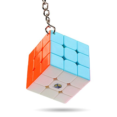 Coogam Yuxin Cube Keychain 3x3 Mini Pocket Cube Key Ring Puzzle Fidget Toy (1.38in)