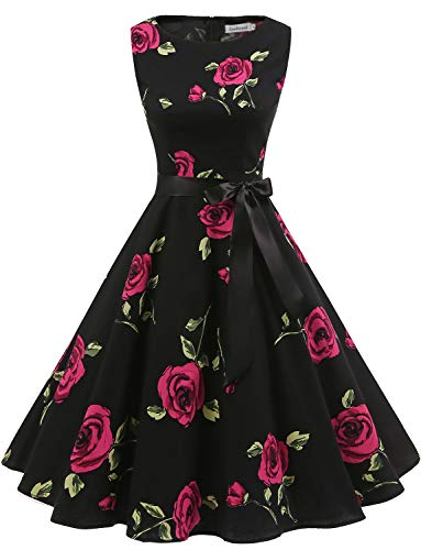 Gardenwed Women's Audrey Hepburn Rockabilly Vintage Dress 1950s Retro Cocktail Swing Party Dress Black Rose M