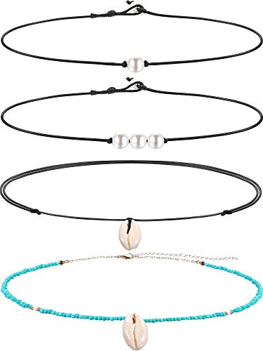 Blulu Single Pearl Choker Necklace 3 Bead Necklace Single Gemstone/Turquoise Choker and Blue Turquoise Necklace on Leather Cord for Women Girl (Pearl and Shell 1)