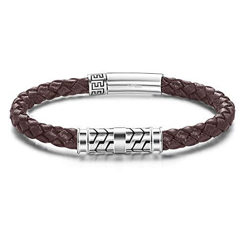 Carleen Destination 925 Sterling Silver Genuine Mens Leather Bracelet Braided Rope Energy Charm Magnetic Clasp, 9