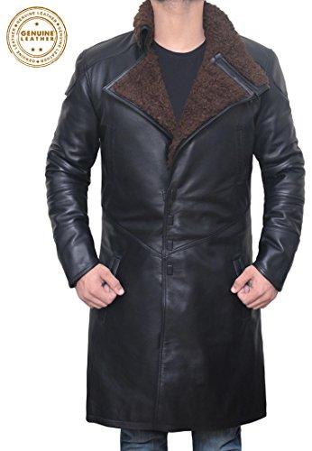 Mens Blade Runner Jacket - Magnet Closure Blade Runner Real Leather Shearling Coat (Blade Runner Coat, (Black Leather Shearling Coat)
